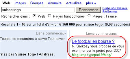 Le football en bourse ? N. Sarkozy vous propose de vous exprimer sur le projet pour 2007