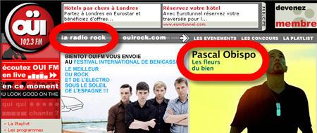 Pub sur ouifm.fr pour Pascal Obispo