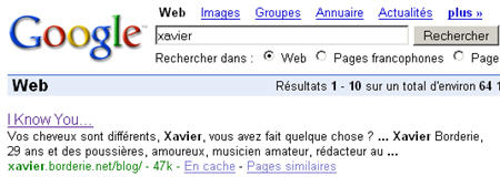 Numéro dans Google.fr pour 'Xavier'
