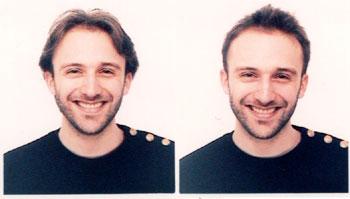Deux photos prises avant et après être passé chez le coiffeur